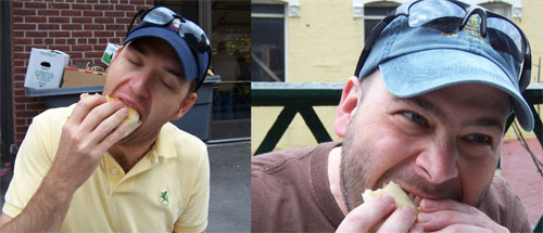 The two of us eating peameal ham (Canadian bacon) sandwiches at the St Lawrence Market, in Toronto. It was so YUMMY!