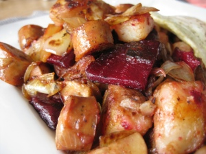 Roasted Beet, Potato and Sausage Hash