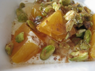 Oranges, Pistachios, Whole Milk Yogurt, Honey and Cinimon