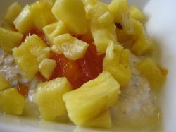 Fuyu Persimmon and Pineapple on Muesli