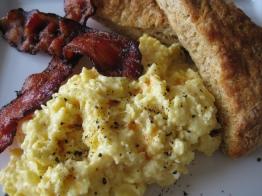 Soft Scrambled Eggs w/ Bacon