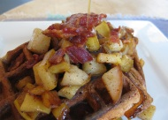 Sunday's Brunch: Waffles, Bacon, Apples, Pears, and Maple Syrup...Yum!