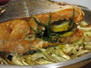 Roast Salmon with tarragon and lemon.