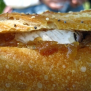 Carmelized onions and brie on seeded baguette.