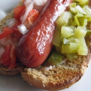 Chopped tomatoes, onions, and pickles on a dog.