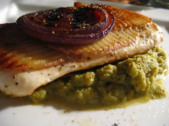 Potato crusted halibut with broccoli puree and roasted red onions
