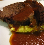 Pot roast and polenta. A good, stick to your ribs, Sunday dinner.
