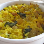 A bowl of golden comfort food.