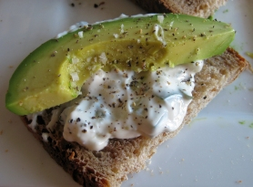 Whole wheat toast, kale tzatziki, and avocado slice, make a healthy breakfast, or snack.