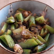Braised Celery, Mushrooms, and Leeks