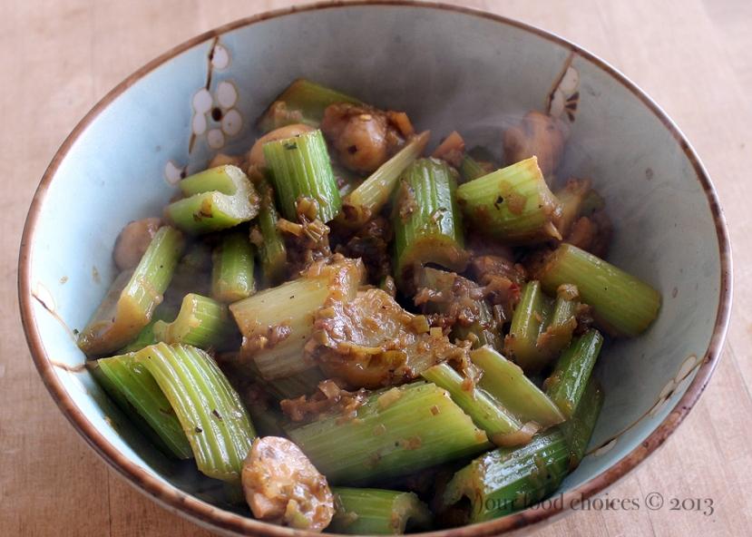 Braised Celery, Mushrooms, and Leeks